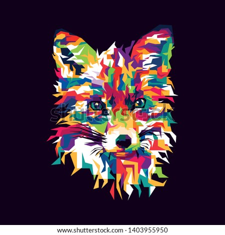 Colorful Fox Illustration. Foxes are small-to-medium-sized, omnivorous mammals belonging to several genera of the family Canidae.