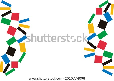 colorful frame sport template, geometric shape frame border with copy space, vector isolated on white background