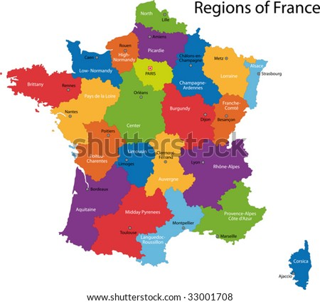 stock vector : Colorful France map with regions and main cities