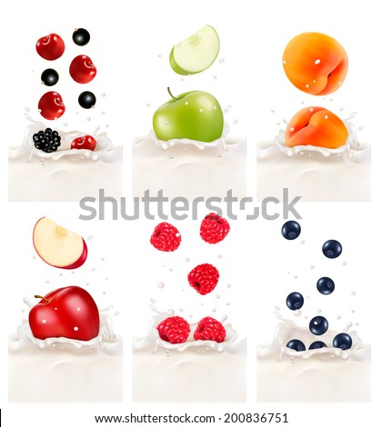 colorful fresh fruits falling
