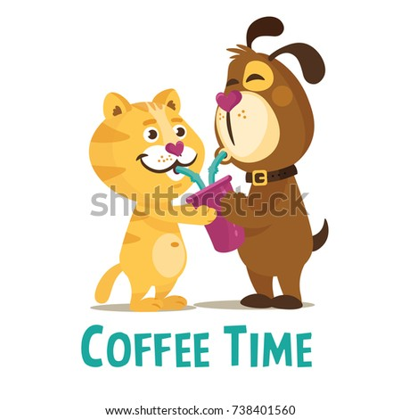 Colorful friendship day illustration card with funny dog and cat. Card, sticker, emblem about friendship