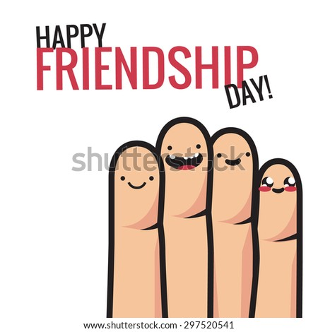 Colorful friendship  illustration with four funny smiling fingers. Vector abstract illustration