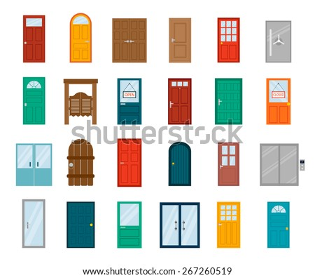 Shutterstock Colorful front doors to houses and buildings set in flat design style isolated, vector illustration. Set of modern colored doors isolated on white.  Closed elegant doors isolated,  decoration .