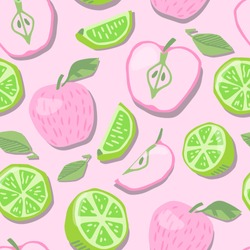 Colorful fruit background. Vector seamless pattern with pink apples and limes. Cute hand drawn illustration. Natural texture for kids, print, textile, fabric, paper. Light juicy summer pattern.