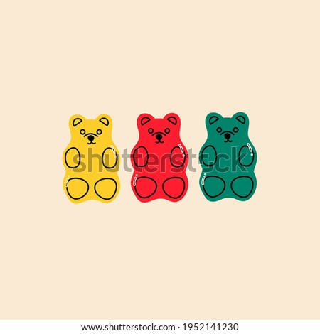 Colorful Fruity and tasty Sweets. Gummy Jelly candie Bears. Hand drawn Vector set. Trendy illustration. Cartoon style. All elements are isolated