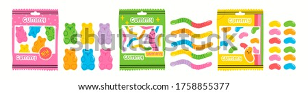 Colorful Fruity and tasty Sweets. Various Gummy and Jelly candies. Bears, Worms, Beans and packs. Hand drawn Vector set. Trendy illustrations. Cartoon style. All elements are isolated