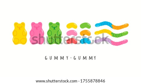 Colorful Fruity and tasty Sweets. Various Gummy and Jelly candies. Bears, Worms, Beans. Hand drawn Vector set. Trendy illustrations. Cartoon style. All elements are isolated Stock foto ©