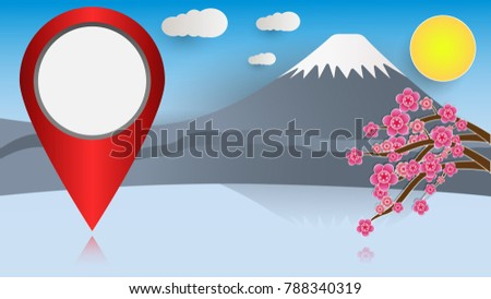 colorful fuji mountain and map