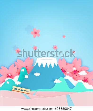 colorful fuji mountain paper