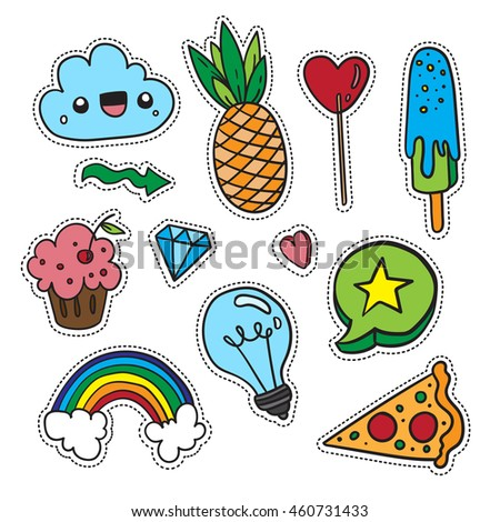 Colorful fun set of quirky cartoon doodle patch badges. Print pin, badge, sticker, collection.
