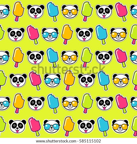 colorful funky seamless pattern with panda ez canvas