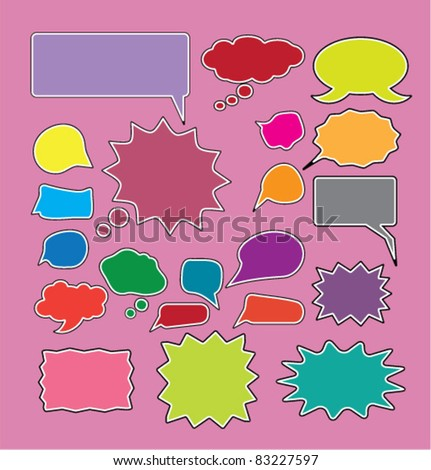 colorful funny comic chat signs, icons, vector.