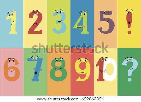 colorful funny numbers from one