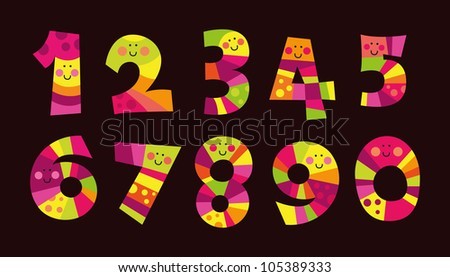 Colorful funny numbers, isolated on the dark background,good for beginners in math