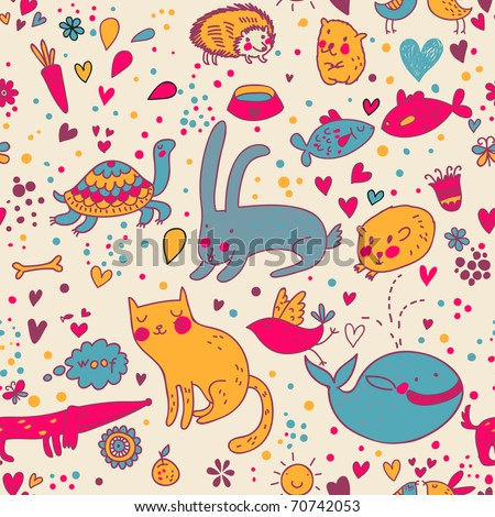 Colorful funny seamless pattern with animals
