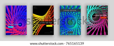 Colorful futuristic cover set. Industrial color composition. Dynamic forms. Futuristic design posters. Eps10 vector.