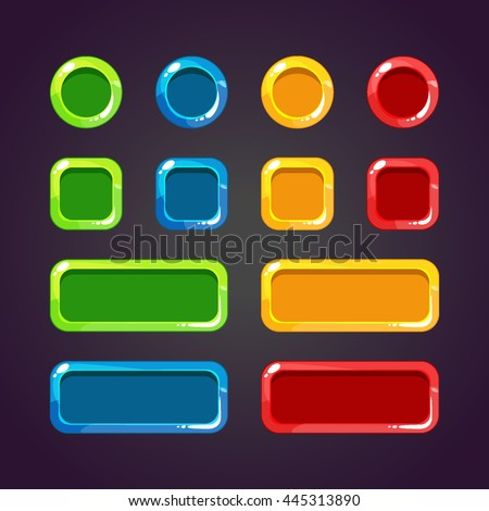 Colorful Game Buttons. Set of buttons for gaming interfaces. Vector GUI elements for mobile games