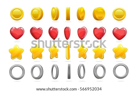 Colorful game icons set of gold coin star red heart and silver ring with animation isolated vector ilustration