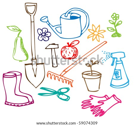 Colorful Garden doodle illustration collection on white background