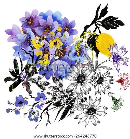 colorful garden watercolor