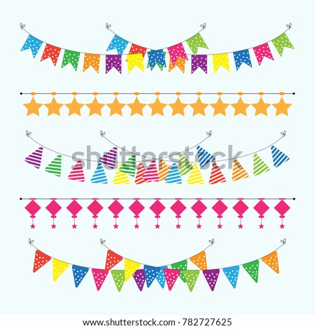 Colorful garlands bunting flags with different shapes vector illustration.