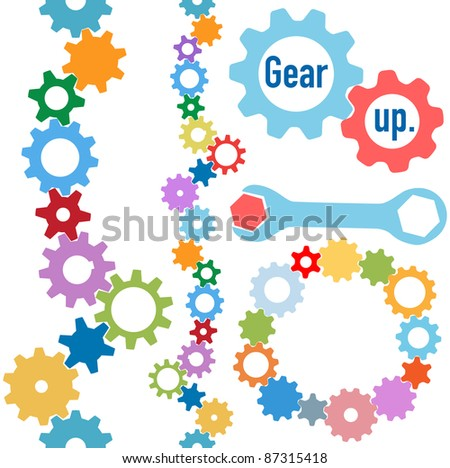 Colorful gears and wrench and bolt Gear Up to form line and circle borders