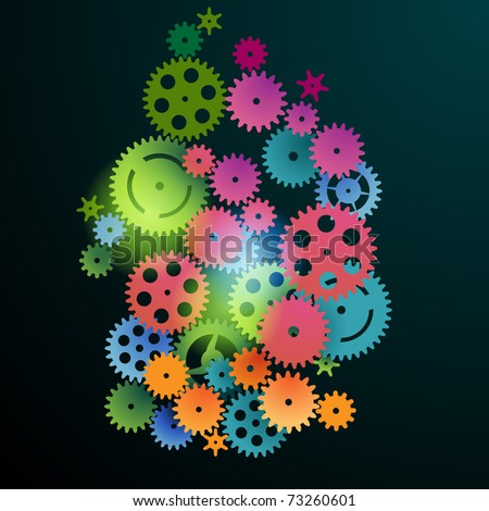 Colorful gears on a black background