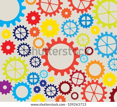colorful gears over white background