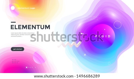 Colorful geometric compositions with gradient blurs abstract shape. Innovation modern background design for cover, landing page. Vector template