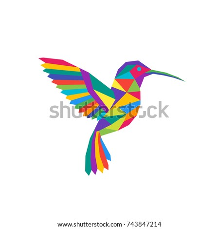 Colorful geometric polygon hummingbird. Abstract symbol of a bird. Vector.