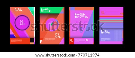 Colorful geometric poster and cover design. Minimal geometric pattern gradients backgrounds. Eps10 vector. #770711974