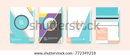 Colorful geometric poster and cover design. Minimal geometric pattern gradients backgrounds. Eps10 vector. #772349218