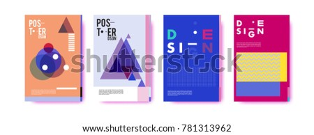 Colorful geometric poster and cover design. Minimal geometric pattern gradients backgrounds. Eps10 vector. #781313962