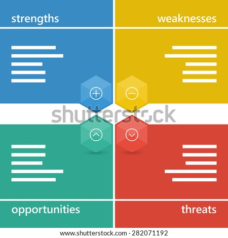 Colorful geometric swot business diagram chart. Vector graphic illustration template isolated on white background.