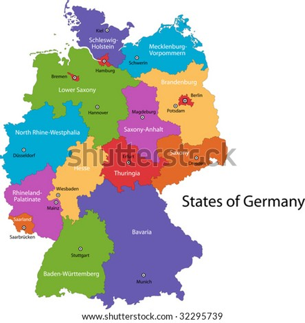 Colorful Germany map with regions and main cities