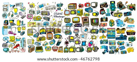 Colorful Giant Retro Tech Collection (vector)