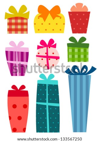 colorful gift box icons with stripes & spots