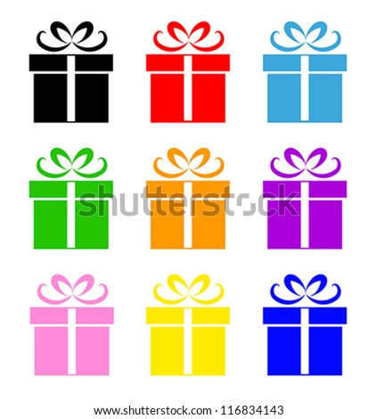 Colorful gift box symbol set isolated on white. Vector illustration