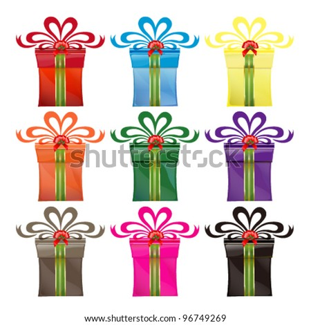 Colorful gift box vector set