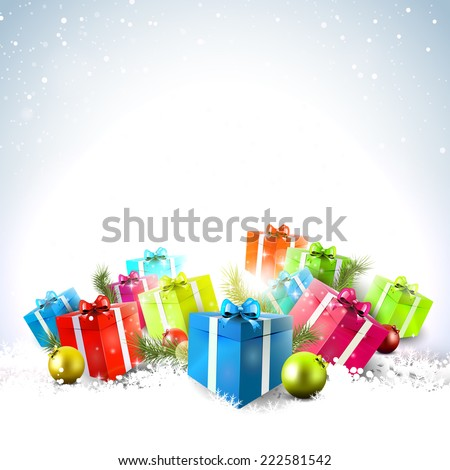 colorful gift boxes in the snow