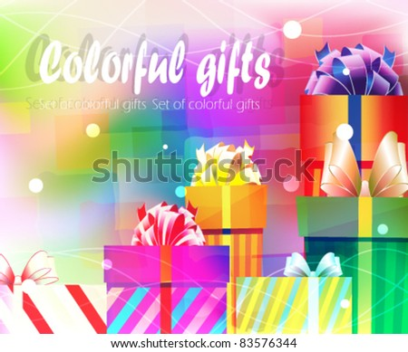 colorful gift boxes on a bright festive background