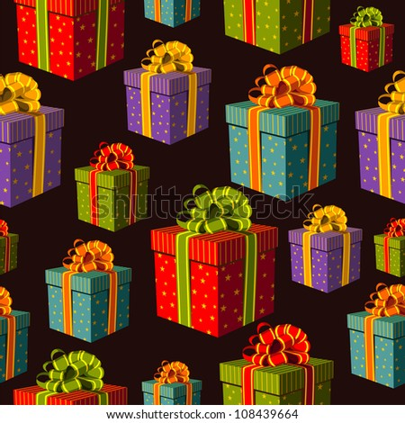 Colorful gift boxes with important ribbons pattern on black background. Vector file layered for easy manipulation and custom coloring.