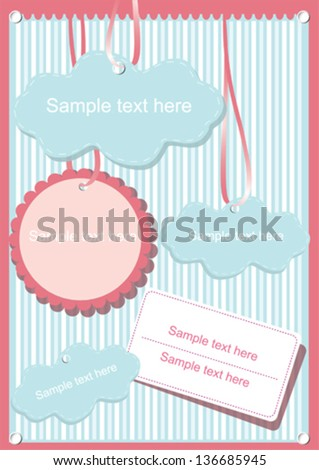 Colorful gift cards on striped background