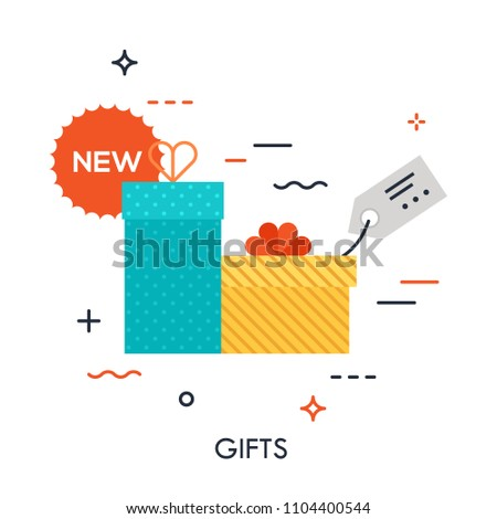 Colorful gift packages with discount label. Concept of buying goods, sales and discounts, online and offline commerce, internet retail. Creative vector illustration for banner, website, advertisement.