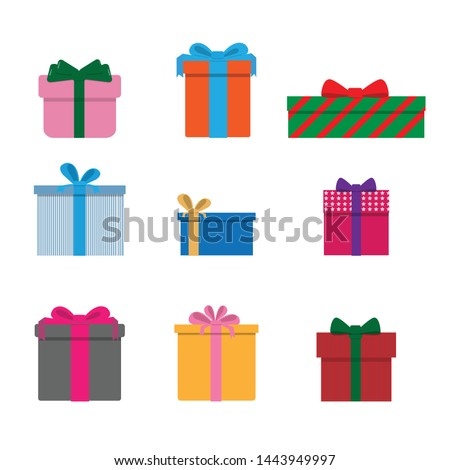 Colorful Giftbox set on white background vector