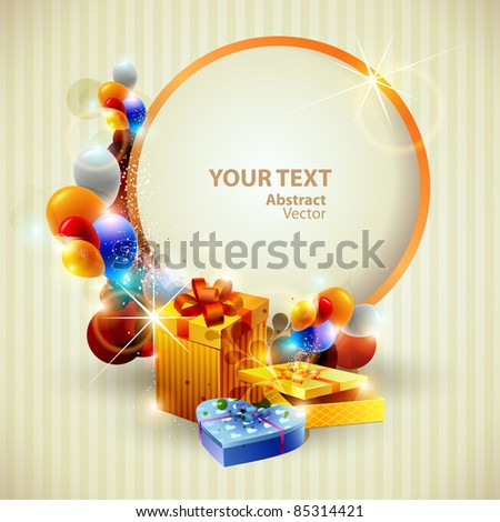 Colorful gifts and place for text.