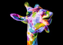 colorful giraffe head isolated on black background.vector illustration.