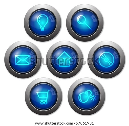 Colorful glassy web buttons with metal borders
