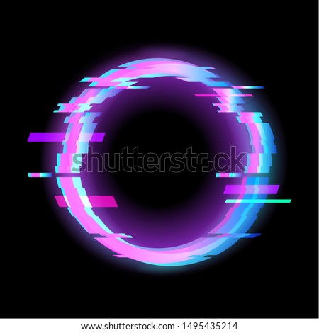 Colorful glitch circle geometric shape, frame with neon glitch effect on black background, vector illustration