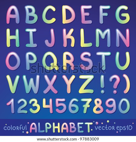 colorful glossy alphabet on blue background, vector eps 10